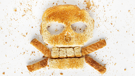 Picture on toasted shaped like skull and crossbones