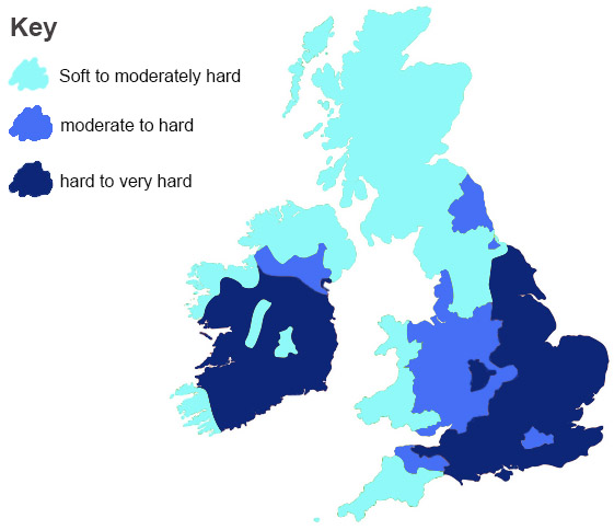 Map showing hard water regions in the UK