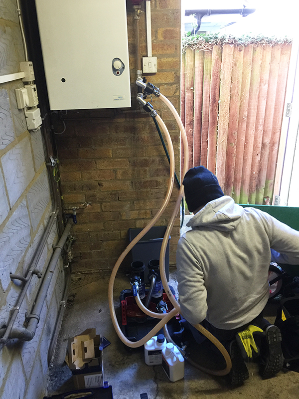 The MagnaCleanse installed where the filter will eventually go