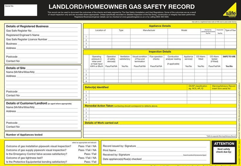 cp12 certificate. Landlords gas safety certificates